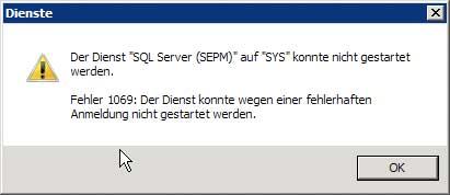 SQL Server Dienste Fehlermeldung