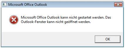 Outlook kann nicht geöffnet werden