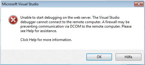 Remotedebugging Windows Parallels Apple - Unable to start debugging on the web server