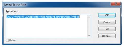 WinDbg Fenster Symbol Search Path