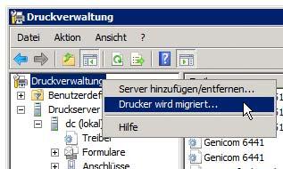Druckverwaltung - Migration starten