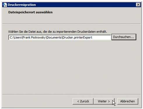 Druckverwaltung - Migration - Importdatei Speicherort wählen