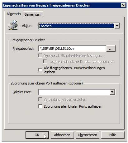 Druckverwaltung - Gruppenrichtlinie zur Druckerverteilung anlegen - Drucker zum Löschen hinzufügen