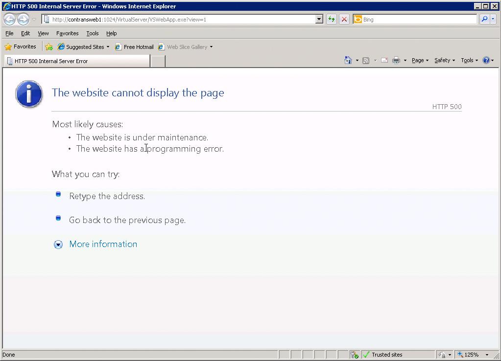 Die HTTP 500 Fehlermeldung in der Microsoft Virtual Server Verwaltungswebsite