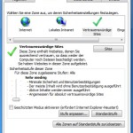 Reiter Sicherheit->Vertrauenswürdige Sites (deutsch)