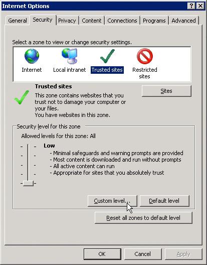 Reiter Sicherheit->Vertrauenswürdige Sites (englisch)