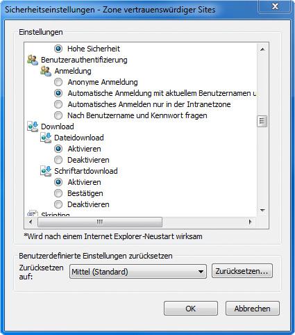 Sicherheitseinstellungen->Benutzeranmeldung (deutsch)
