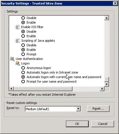 Sicherheitseinstellungen->Benutzeranmeldung (englisch)