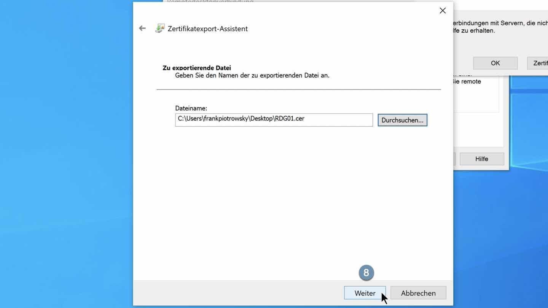 Dateispeicherort bestätigen