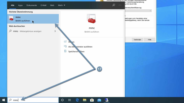Microsoft Management Console (MMC) starten