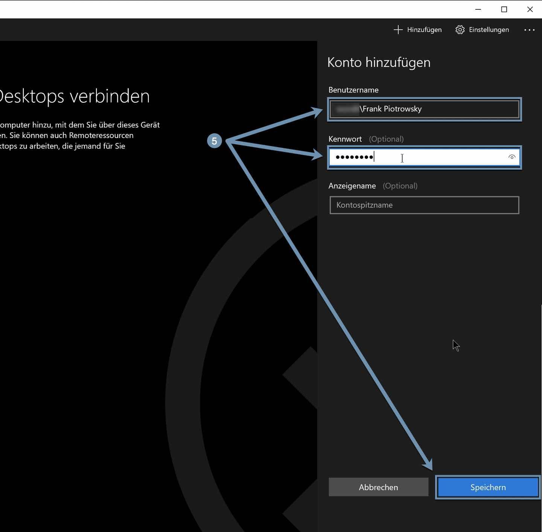 Windows-Zugangsdaten eingeben
