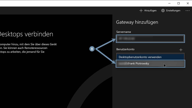 Server-Name eingeben und Benutzerkonto auswählen